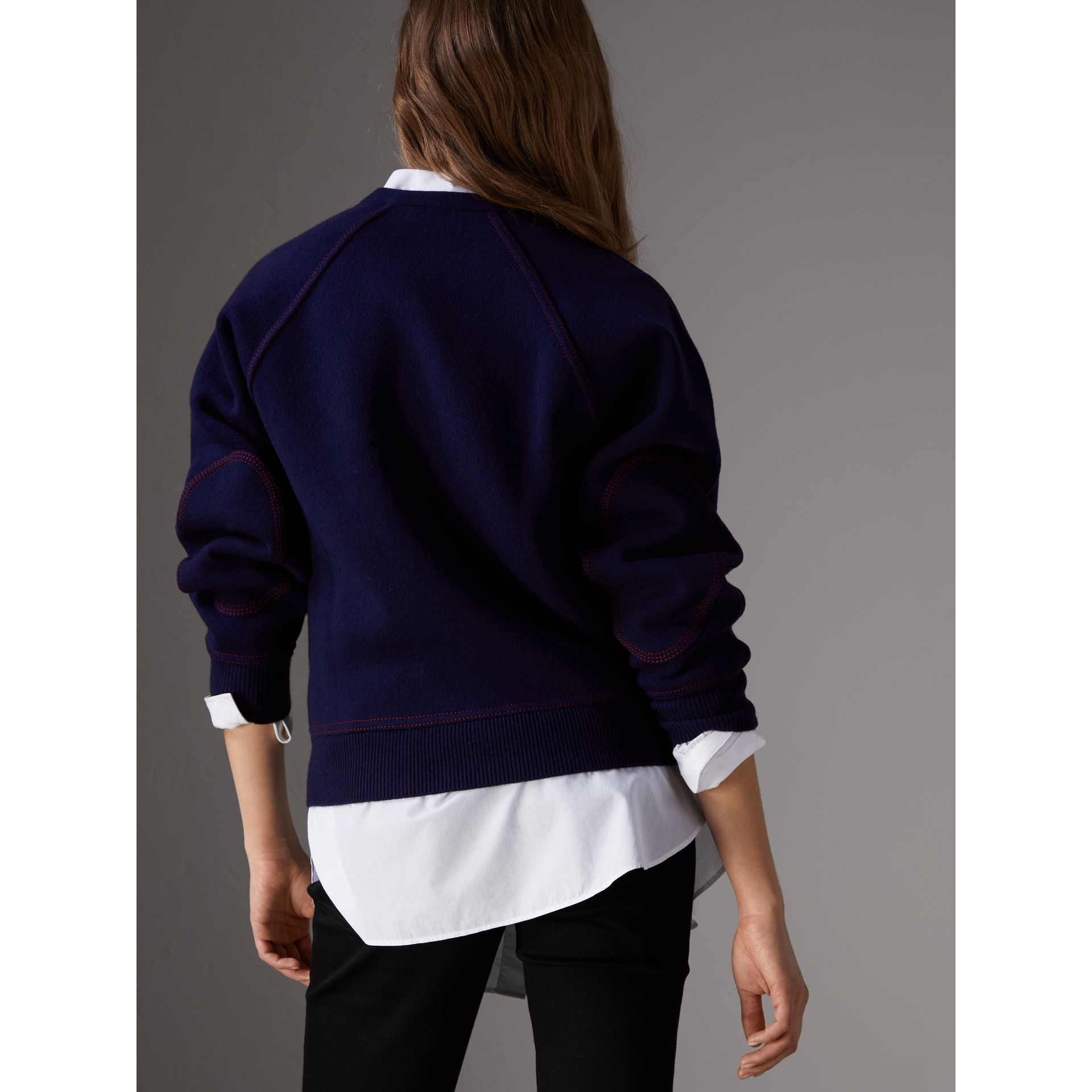 Topstitch Detail Wool Cashmere Blend Sweater in Navy - Women | Burberry - gallery image 3
