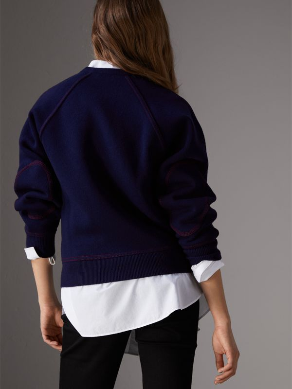 Topstitch Detail Wool Cashmere Blend Sweater in Navy - Women | Burberry - cell image 2