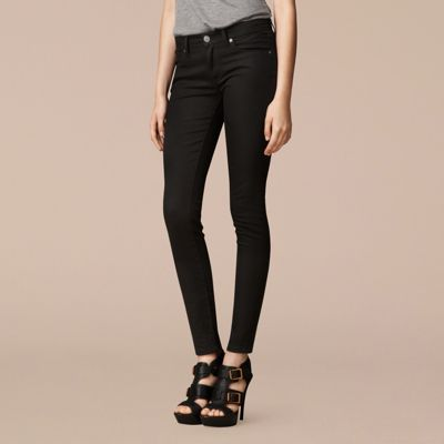 Skinny Fit Low-Rise Deep Black Jeans | Burberry