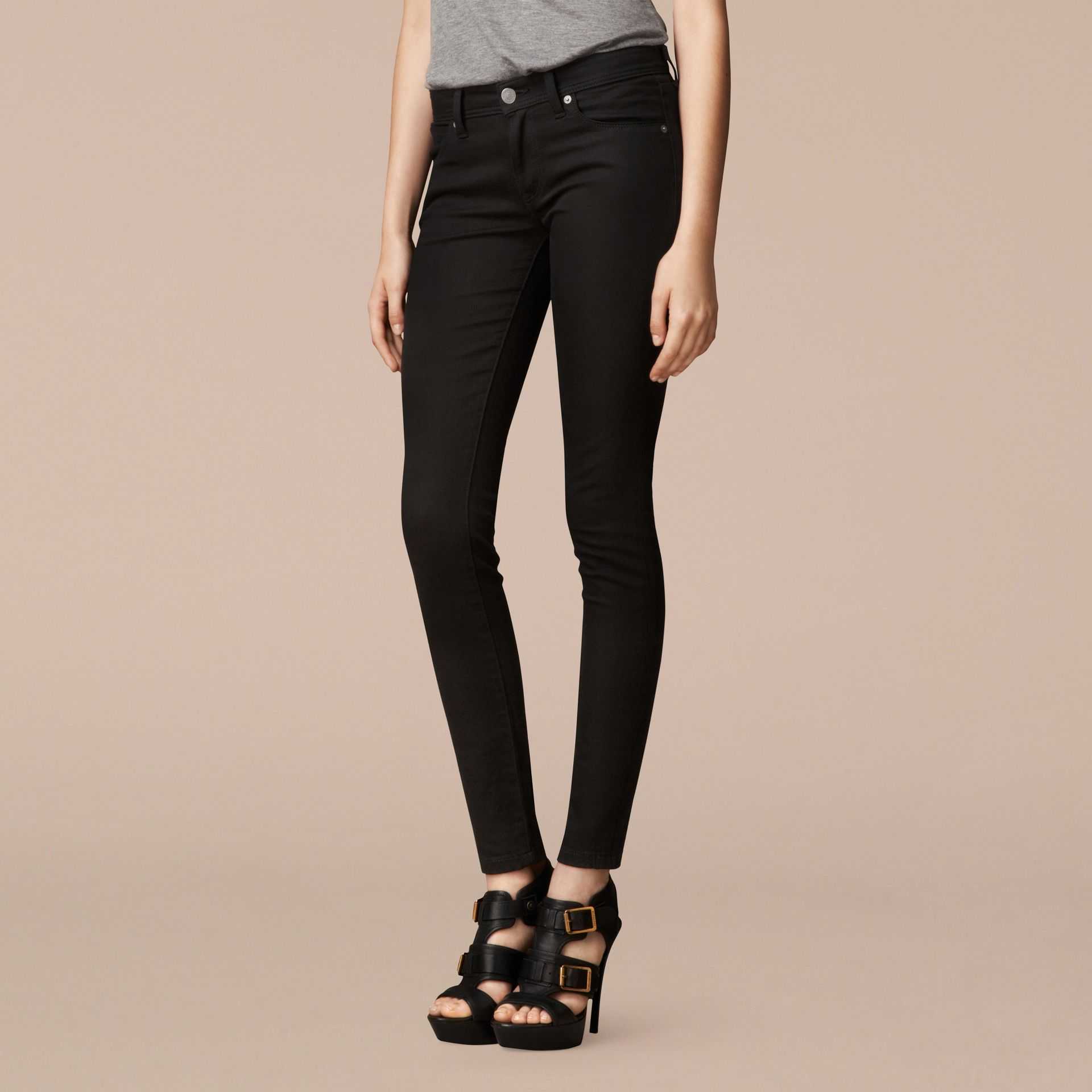 Skinny Fit Low-Rise Deep Black Jeans - Women | Burberry - gallery image 6