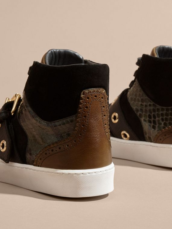 Buckle Detail Leather and Snakeskin High-top Trainers Military Olive - cell image 3