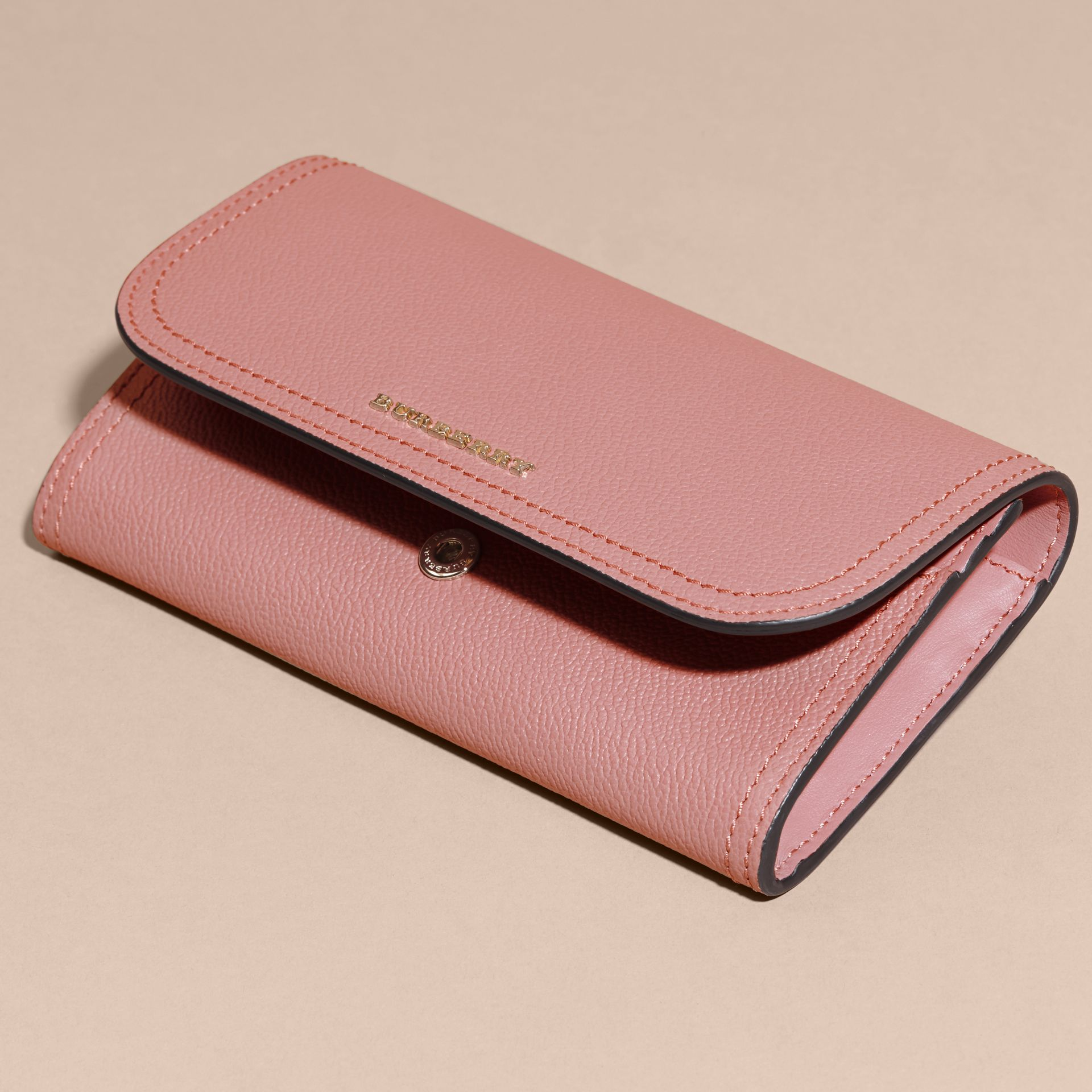 Grainy Leather Slim Continental Wallet in Dusty Pink - Women | Burberry - gallery image 4