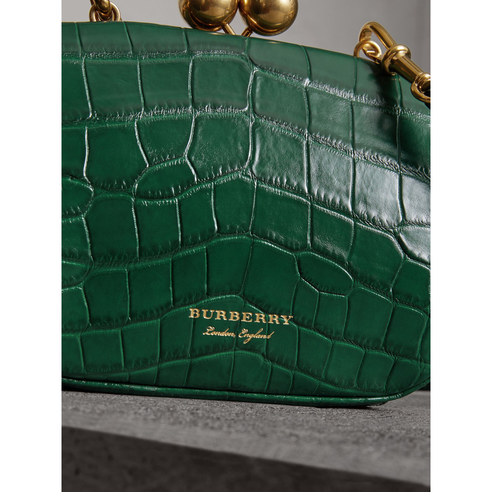Small Alligator Metal Frame Clutch Bag in Dark Green - Women | Burberry - gallery image 1