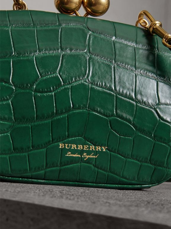 Small Alligator Frame Bag in Dark Green - Women | Burberry - cell image 1