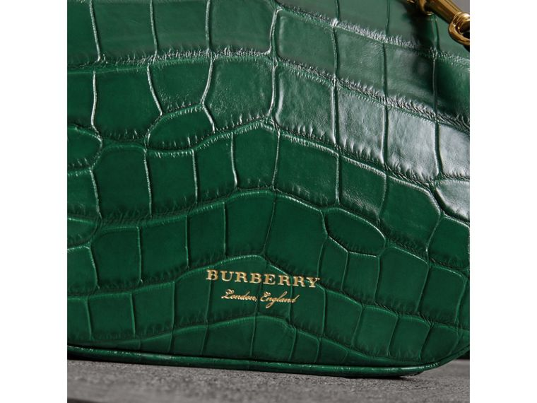 Small Alligator Metal Frame Clutch Bag in Dark Green - Women | Burberry - cell image 1