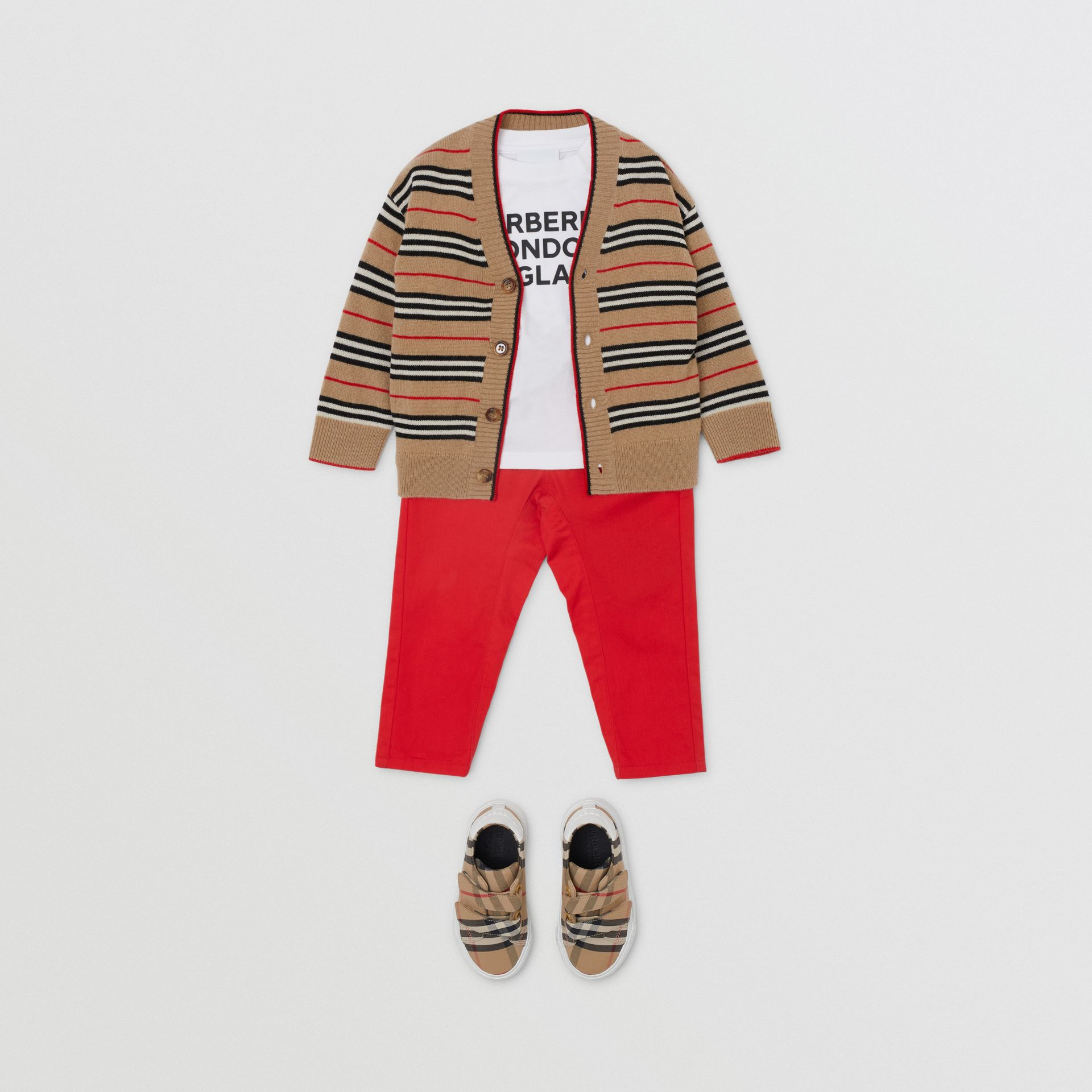 Icon Stripe Wool Cashmere Cardigan in Archive Beige - Children | Burberry United Kingdom - gallery image 2
