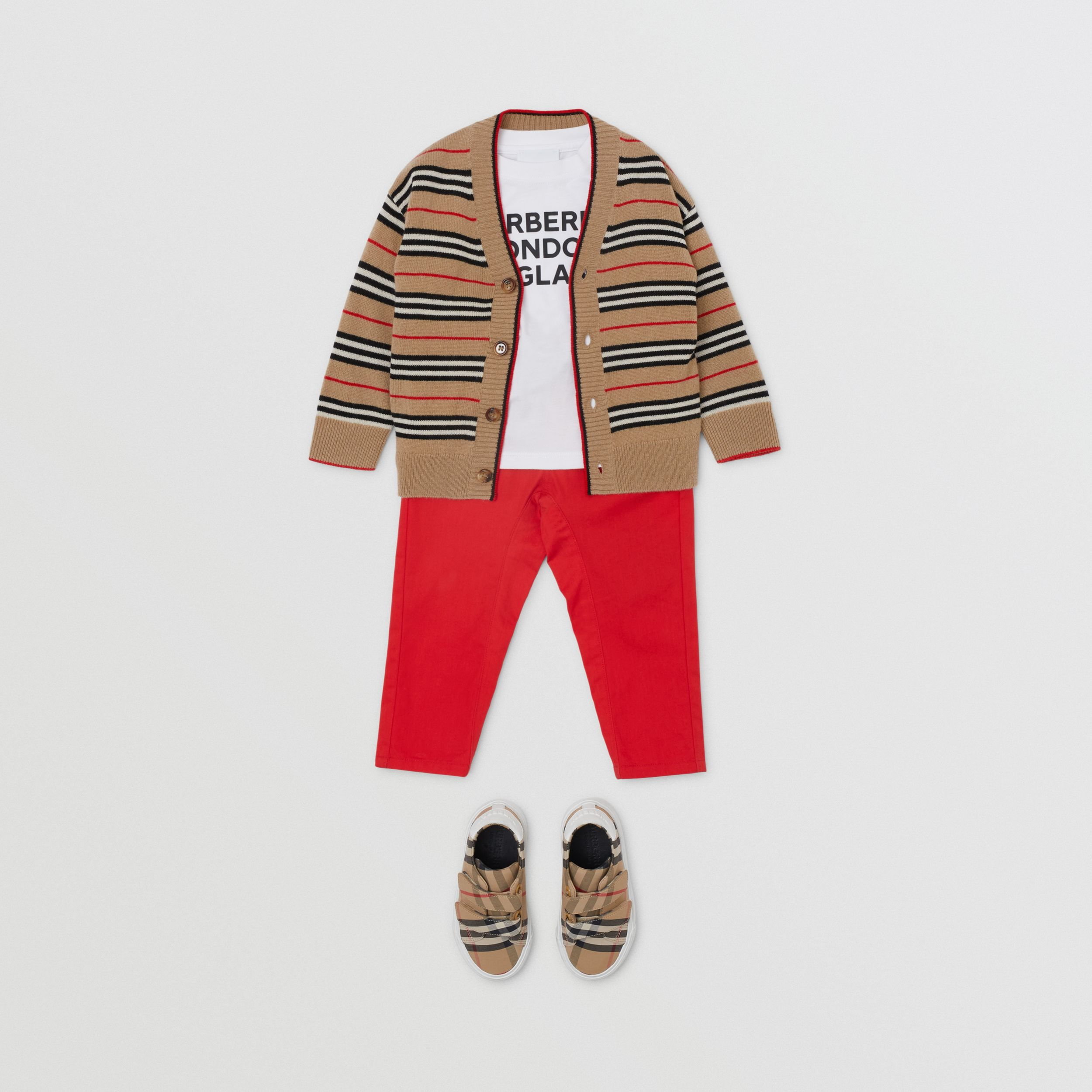 Icon Stripe Wool Cashmere Cardigan in Archive Beige - Children | Burberry - 3