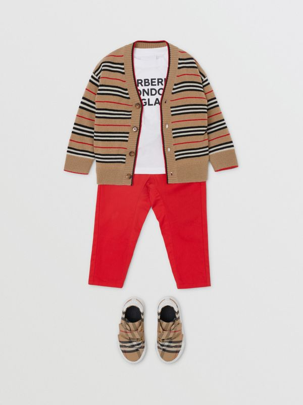 Icon Stripe Wool Cashmere Cardigan in Archive Beige - Children | Burberry United Kingdom - cell image 2