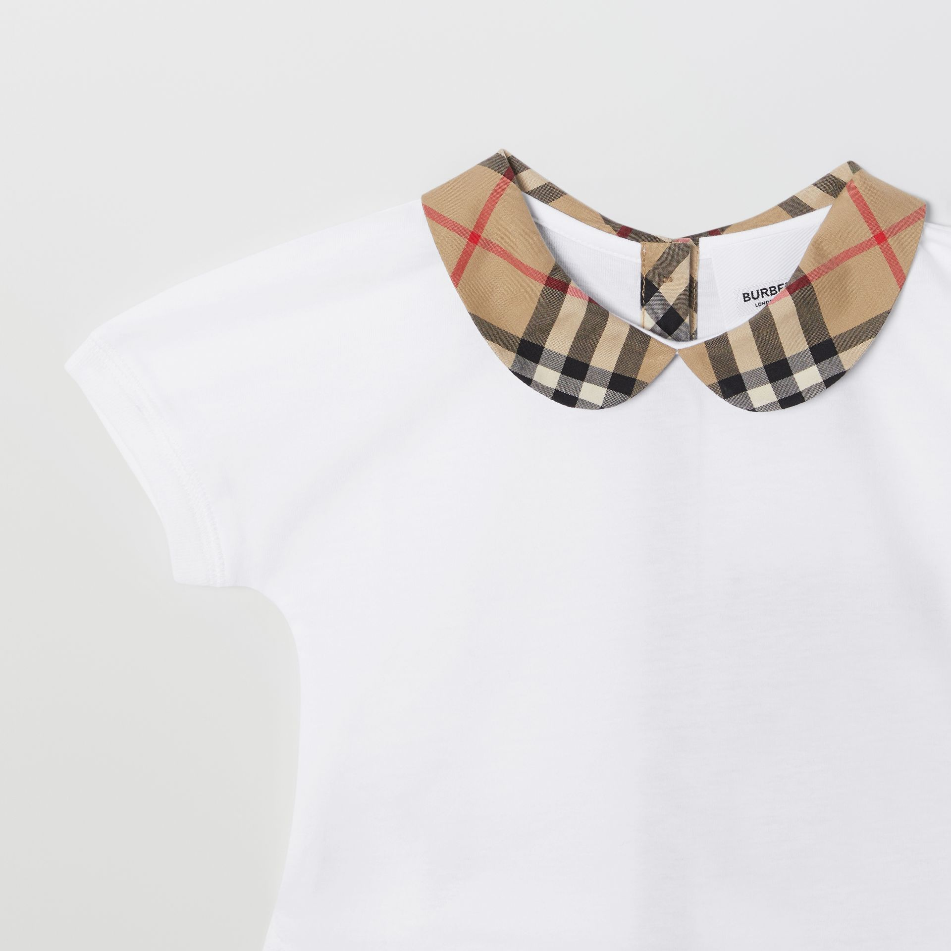 Vintage Check Trim Cotton T-shirt in White - Children | Burberry - gallery image 4