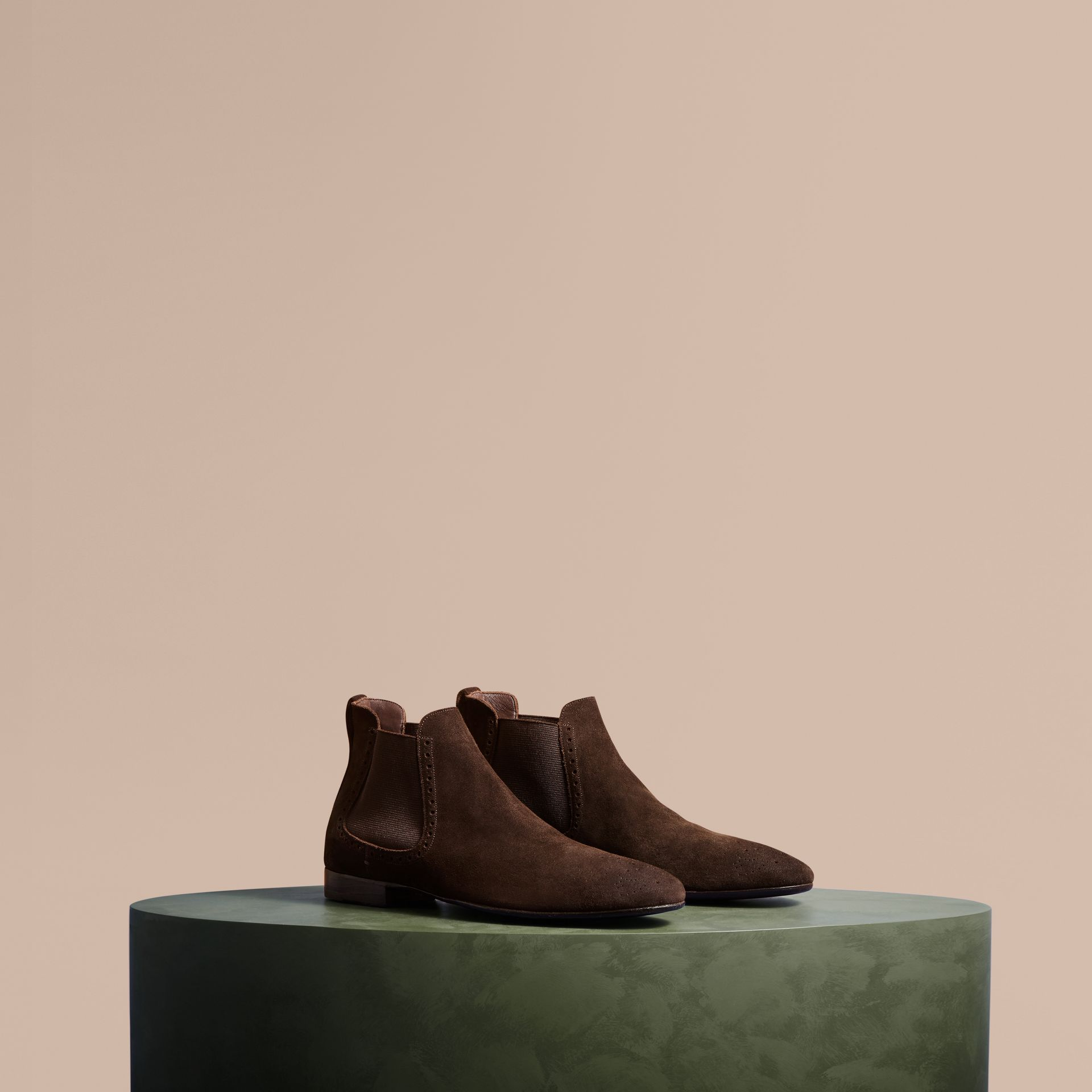 Peat brown Washed-suede Chelsea Boots with Leather Soles - gallery image 1