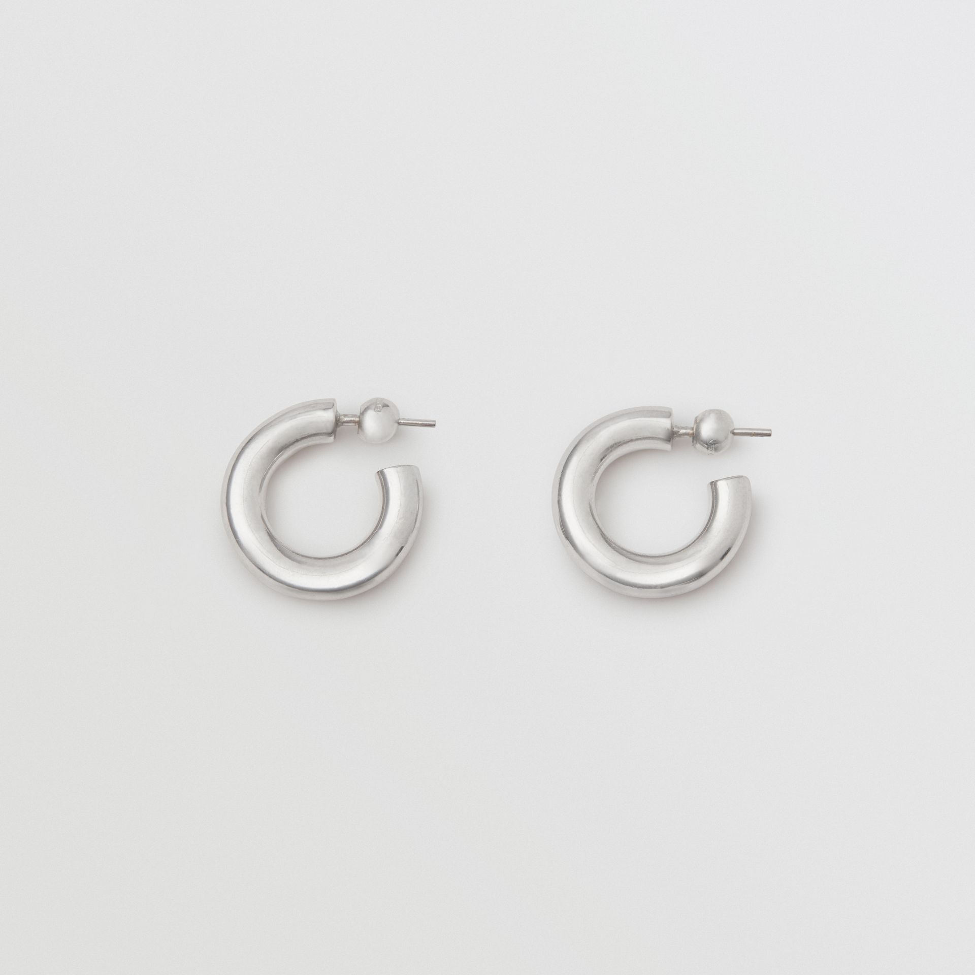 Palladium-plated Hoop Earrings in Palladio - Women | Burberry - gallery image 0