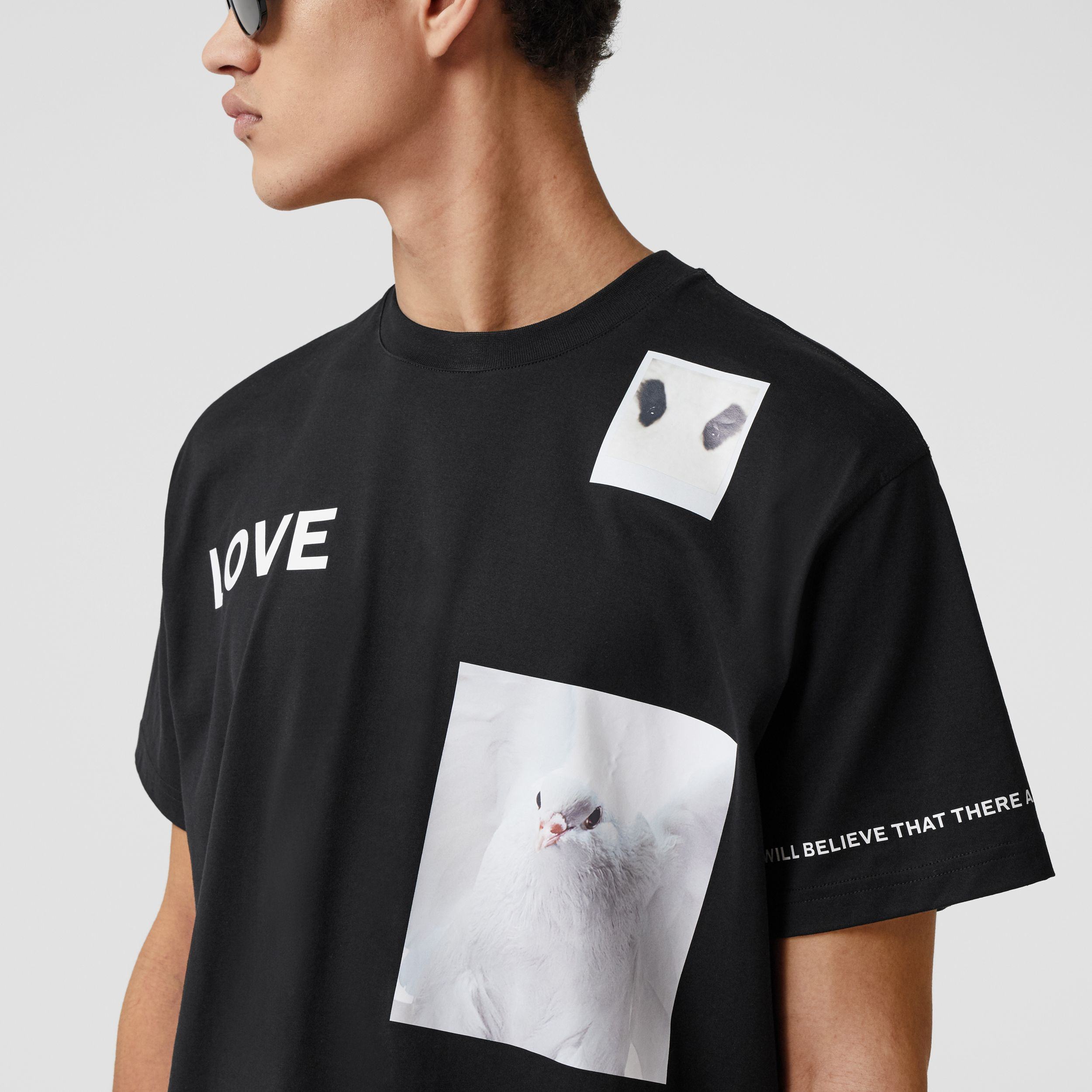 Montage Print Cotton T-shirt in Black - Men | Burberry - 2