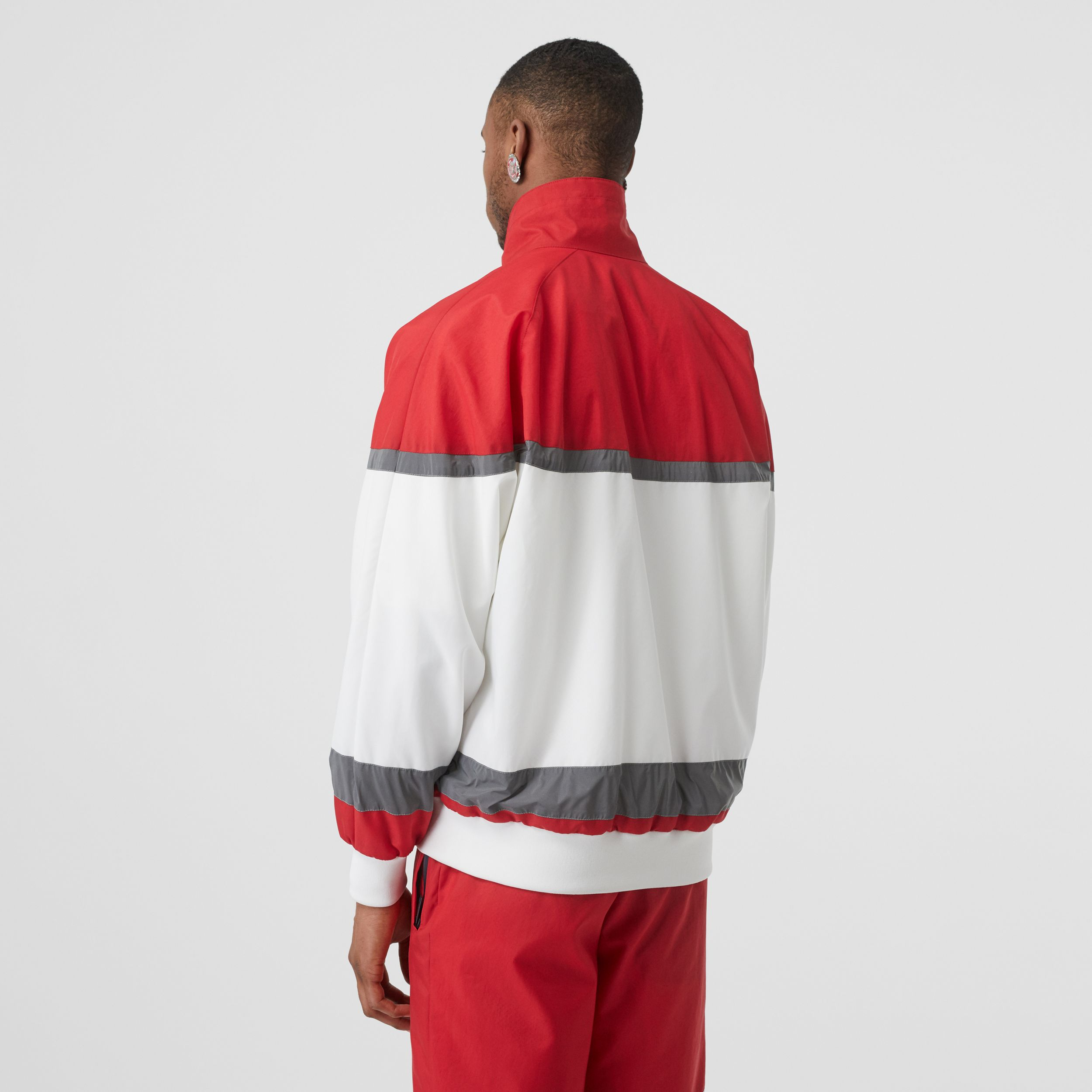 Logo Graphic Striped Nylon Track Top in Bright Red - Men | Burberry - 3