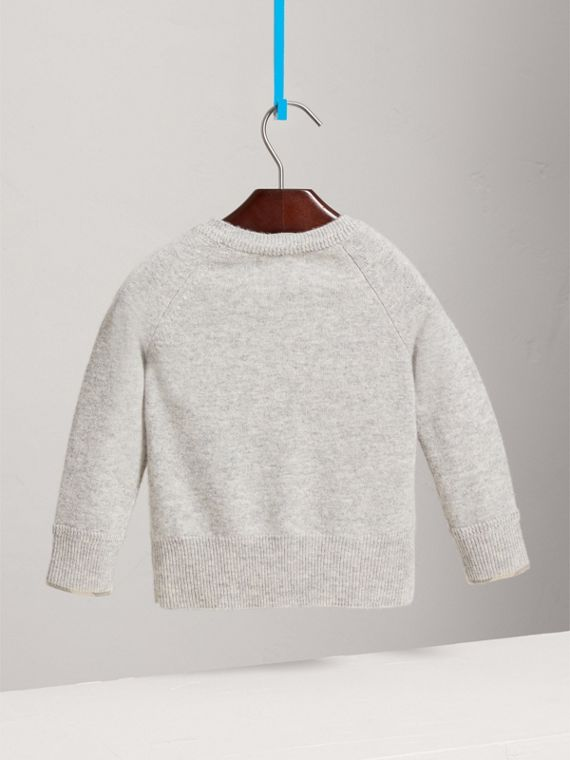 Check Detail Cashmere Sweater in Light Grey Melange - Girl | Burberry - cell image 3