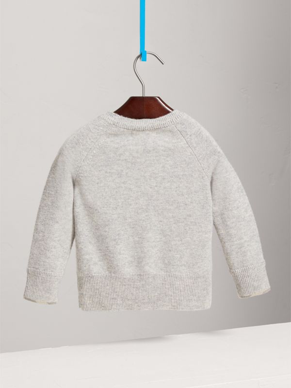 Check Detail Cashmere Sweater in Light Grey Melange | Burberry - cell image 3