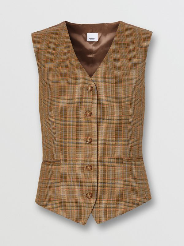 Houndstooth Check Wool Tailored Waistcoat in Fawn - Women | Burberry - cell image 3