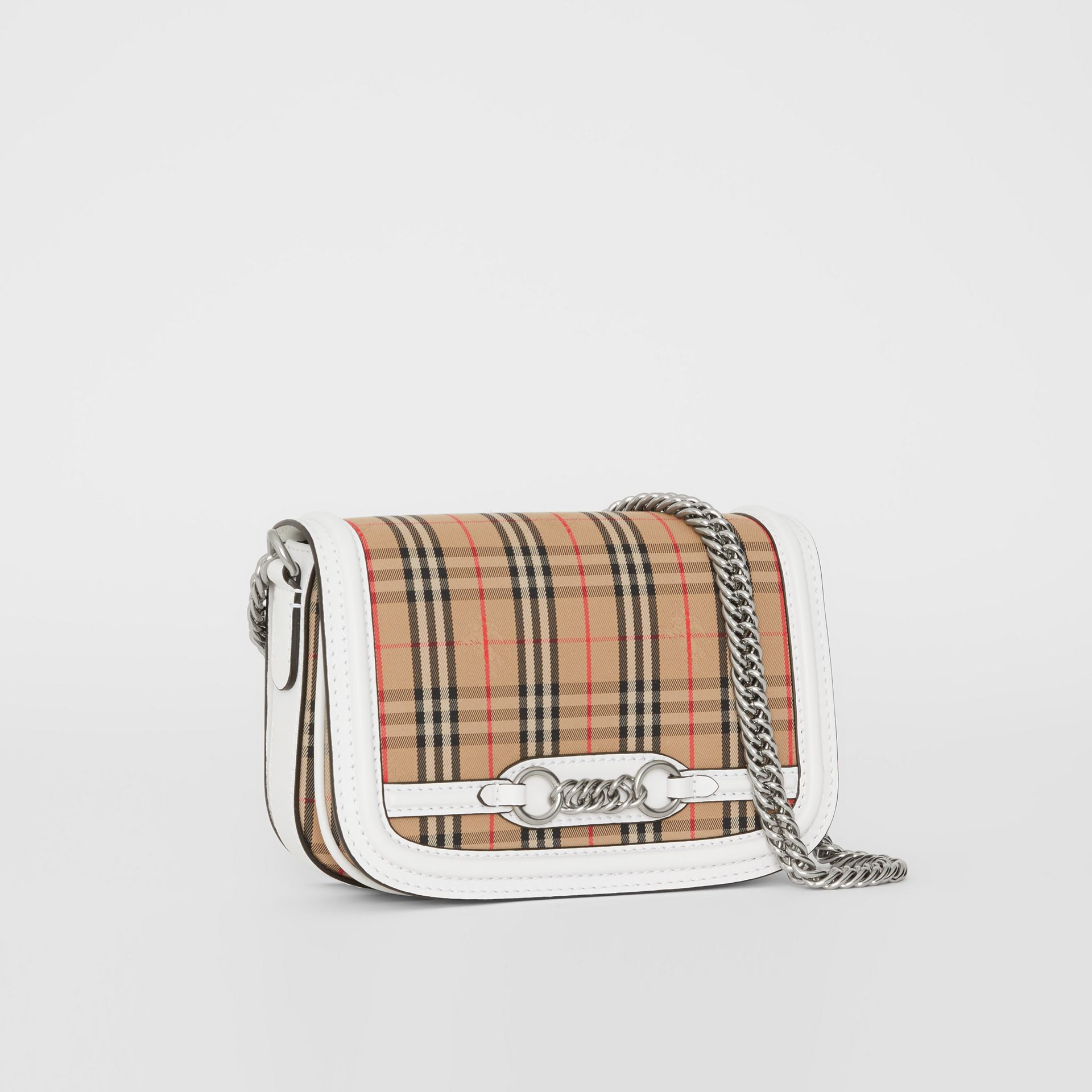 The 1983 Check Link Bag with Leather Trim in Chalk White - Women | Burberry - gallery image 6