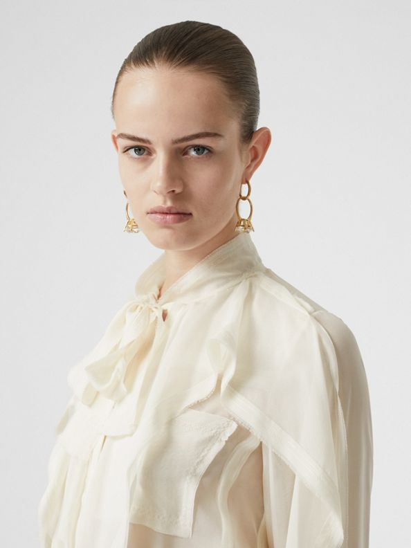 Ruffled Silk Chiffon Pussy-bow Blouse in Ivory