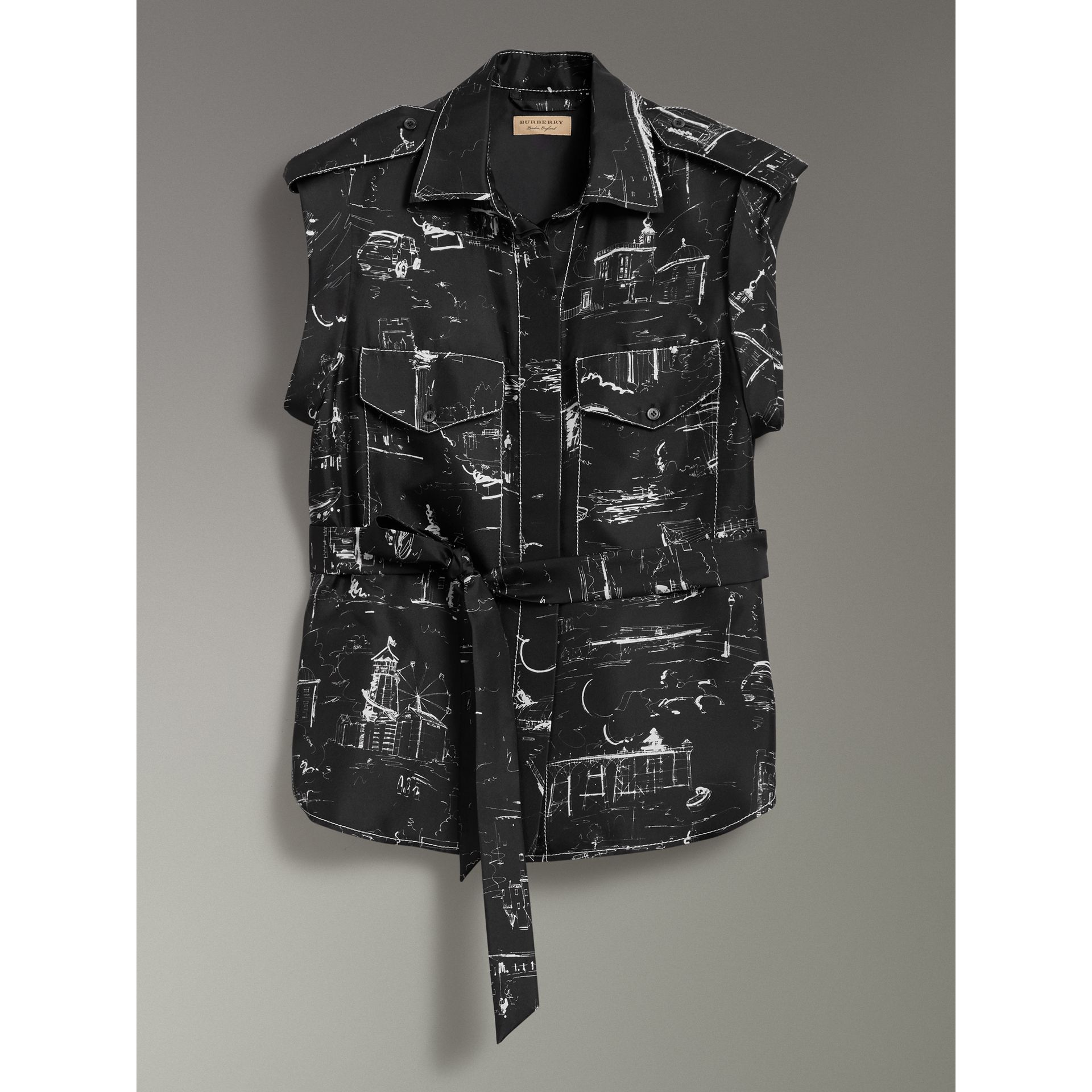 Landmark Print Sleeveless Silk Shirt in Black - Women | Burberry - gallery image 3