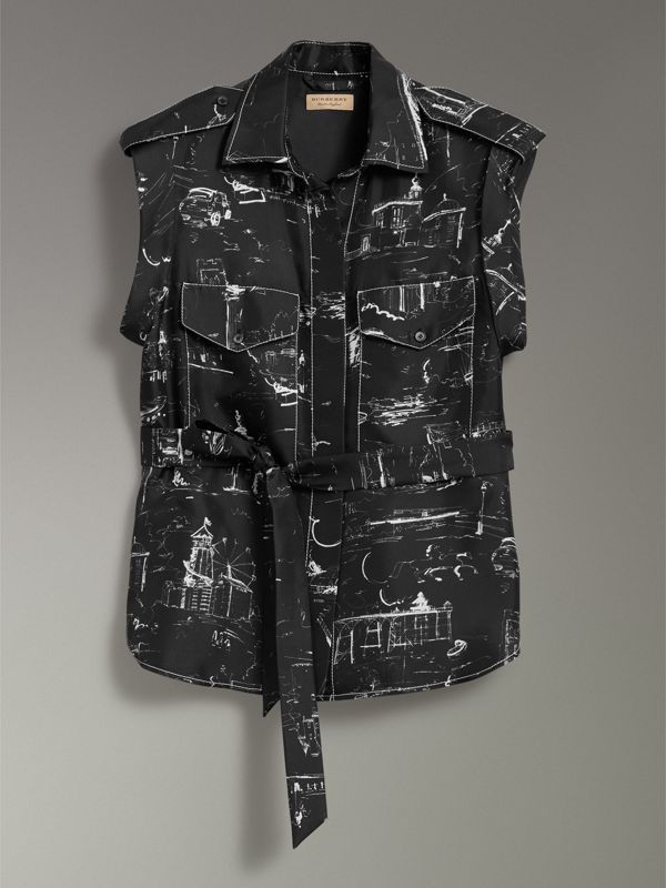 Landmark Print Sleeveless Silk Shirt in Black - Women | Burberry - cell image 3