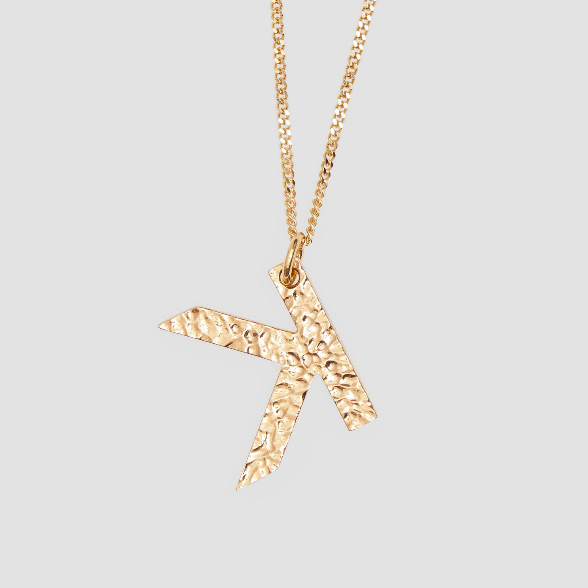 'K' Alphabet Charm Gold-plated Necklace in Light - Women | Burberry United Kingdom - gallery image 2
