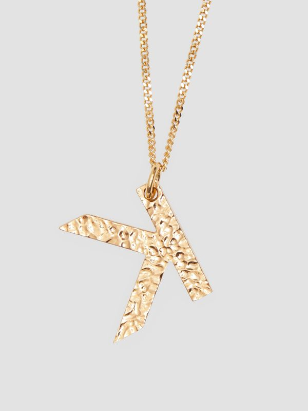 'K' Alphabet Charm Gold-plated Necklace in Light - Women | Burberry United Kingdom - cell image 2