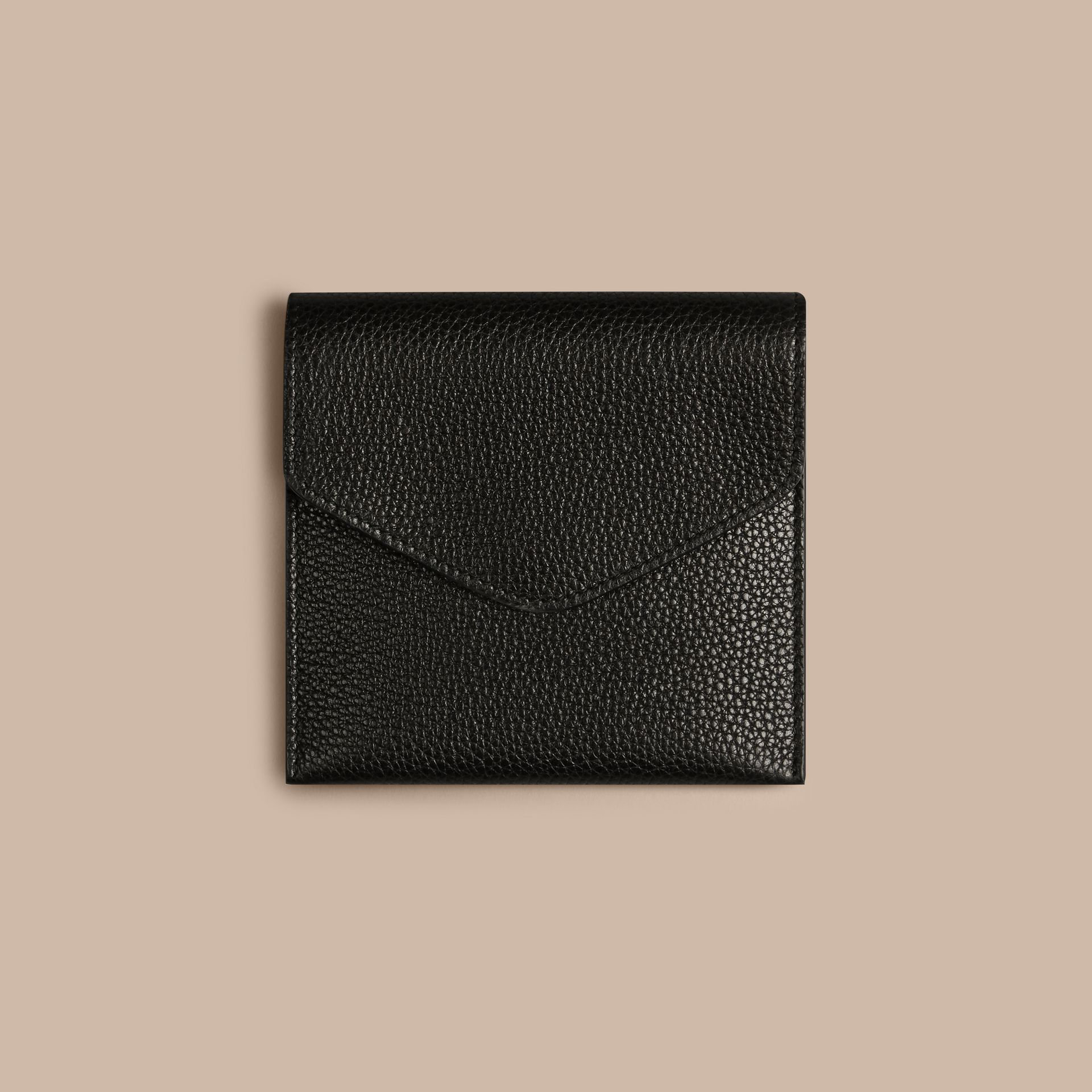 Black Grainy Leather Cufflink Case Black - gallery image 2