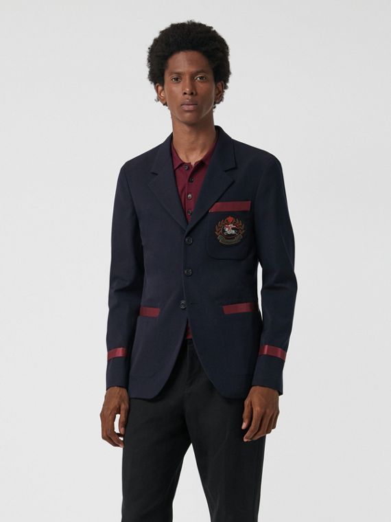 Crest Detail Wool Blend Club Blazer in Navy