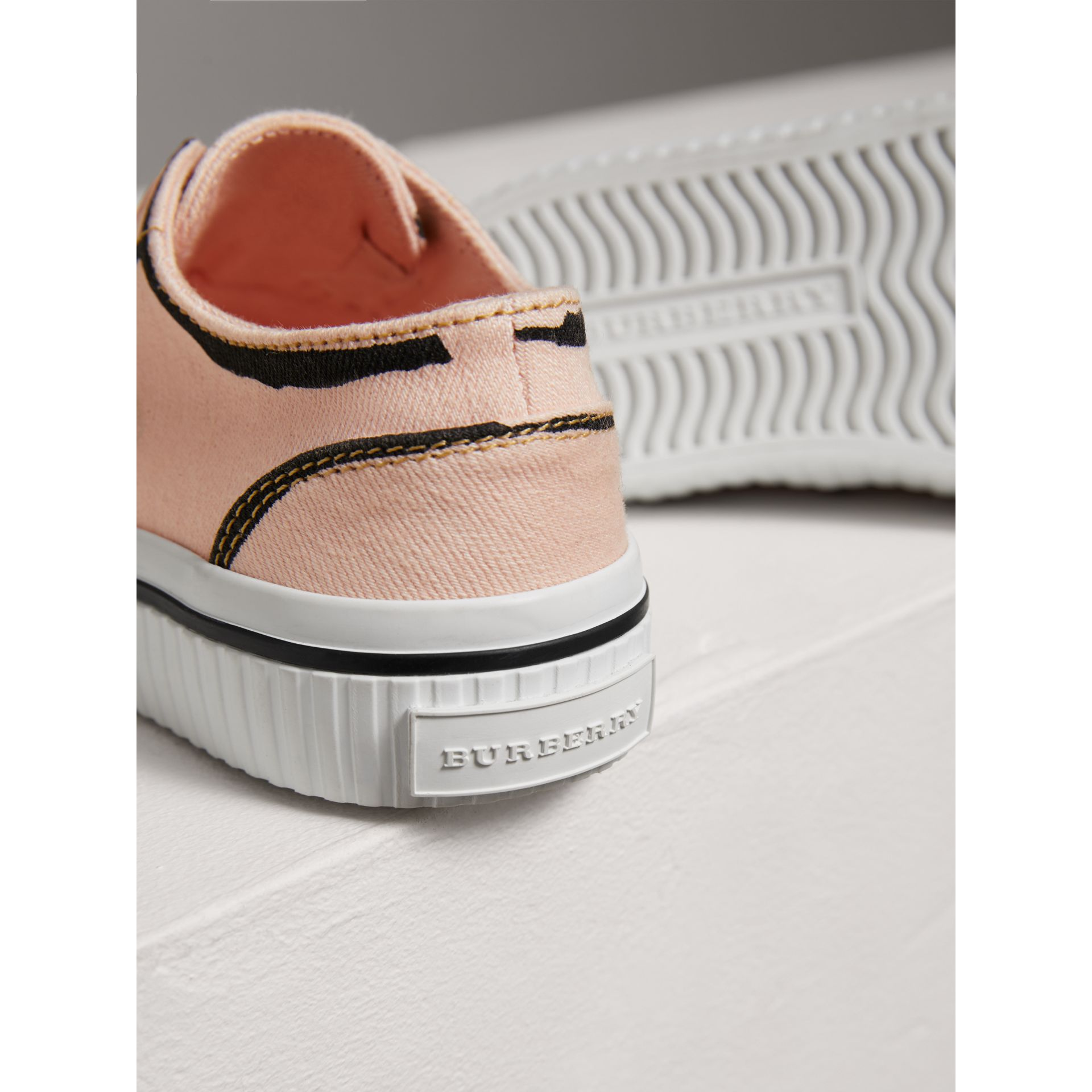 Scribble Print Slip-on Sneakers in Pale Rose Pink | Burberry - gallery image 1