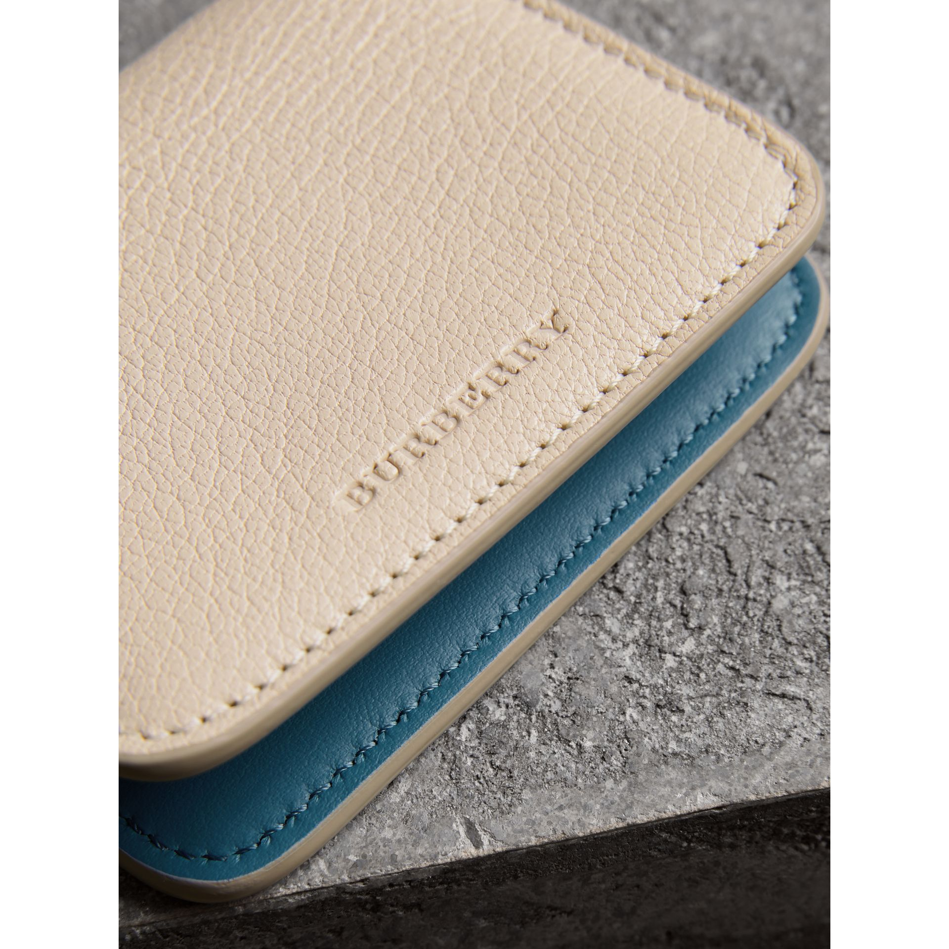 Link Detail Leather ID Card Case Charm in Stone | Burberry - gallery image 1