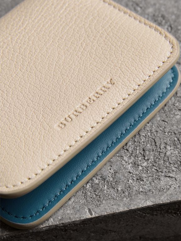 Link Detail Leather ID Card Case Charm in Stone | Burberry United Kingdom - cell image 1