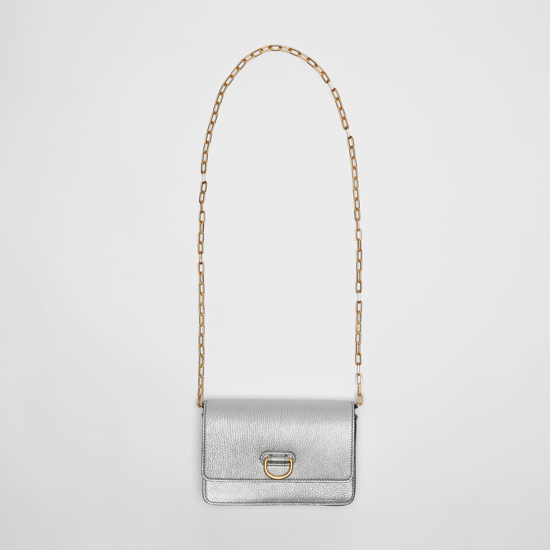 The Mini Leather D-ring Bag in Silver - Women | Burberry Canada - gallery image 4