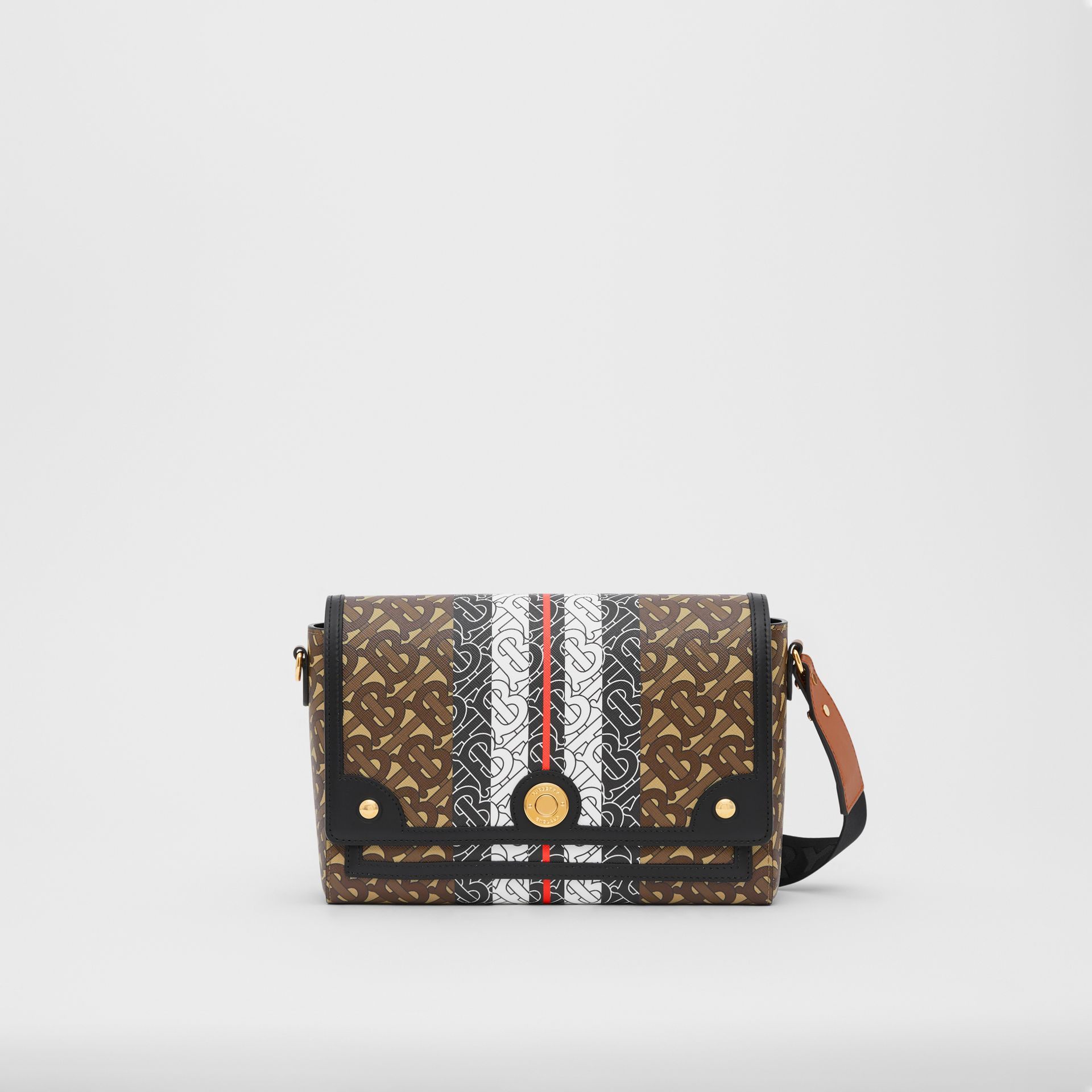Monogram Stripe E-canvas Note Crossbody Bag in Bridle Brown - Women | Burberry United Kingdom - gallery image 0