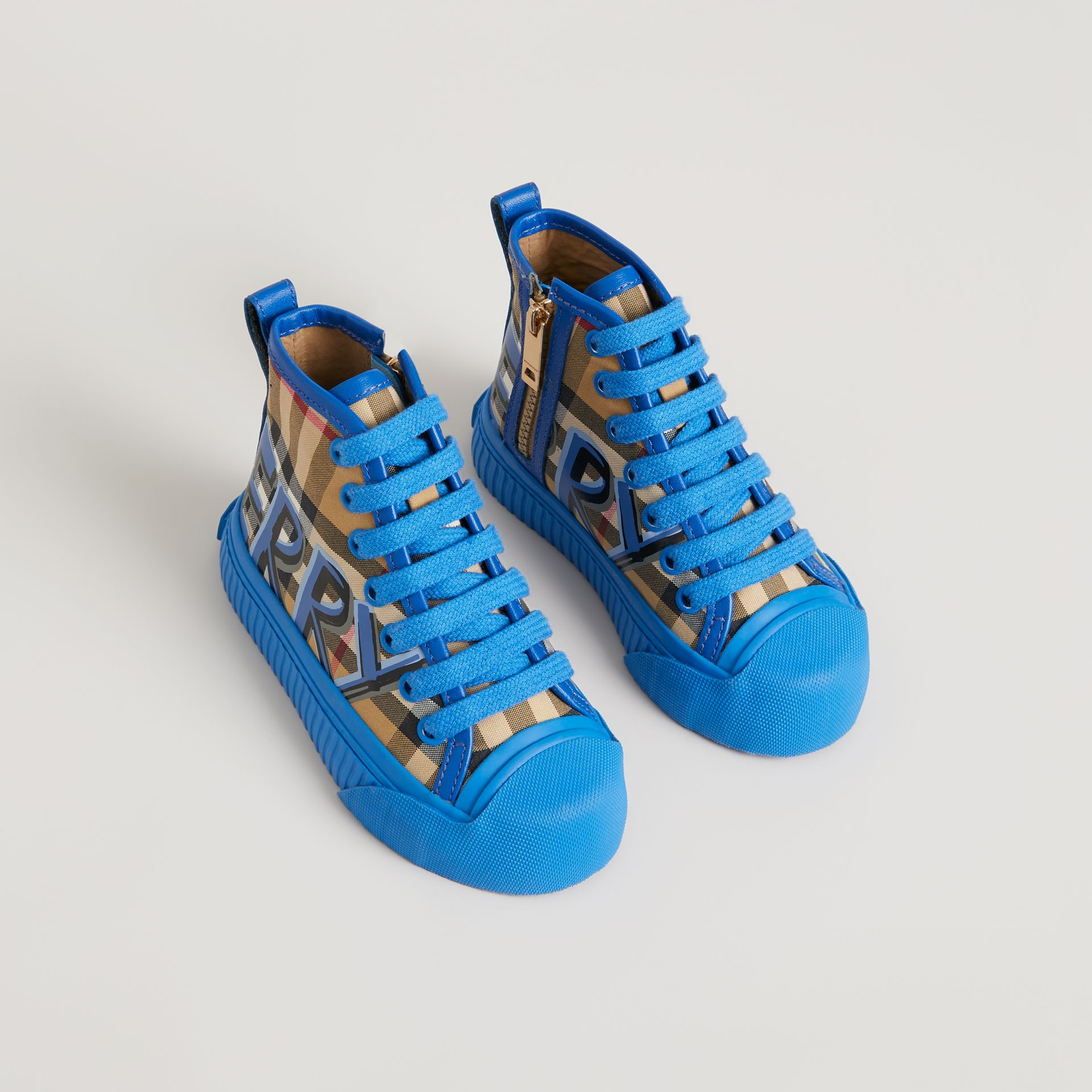 Graffiti Vintage Check High-top Sneakers in Bright Sky Blue - Children | Burberry - gallery image 0