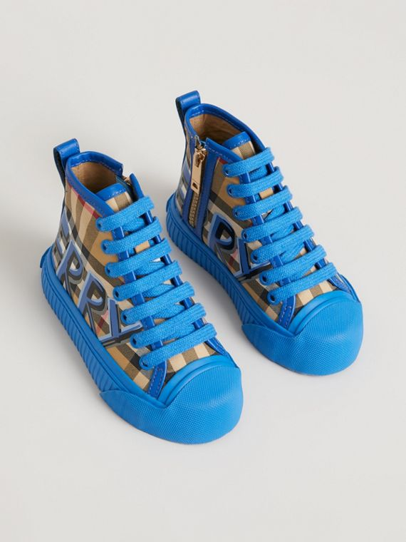 Graffiti Vintage Check High-top Sneakers in Bright Sky Blue