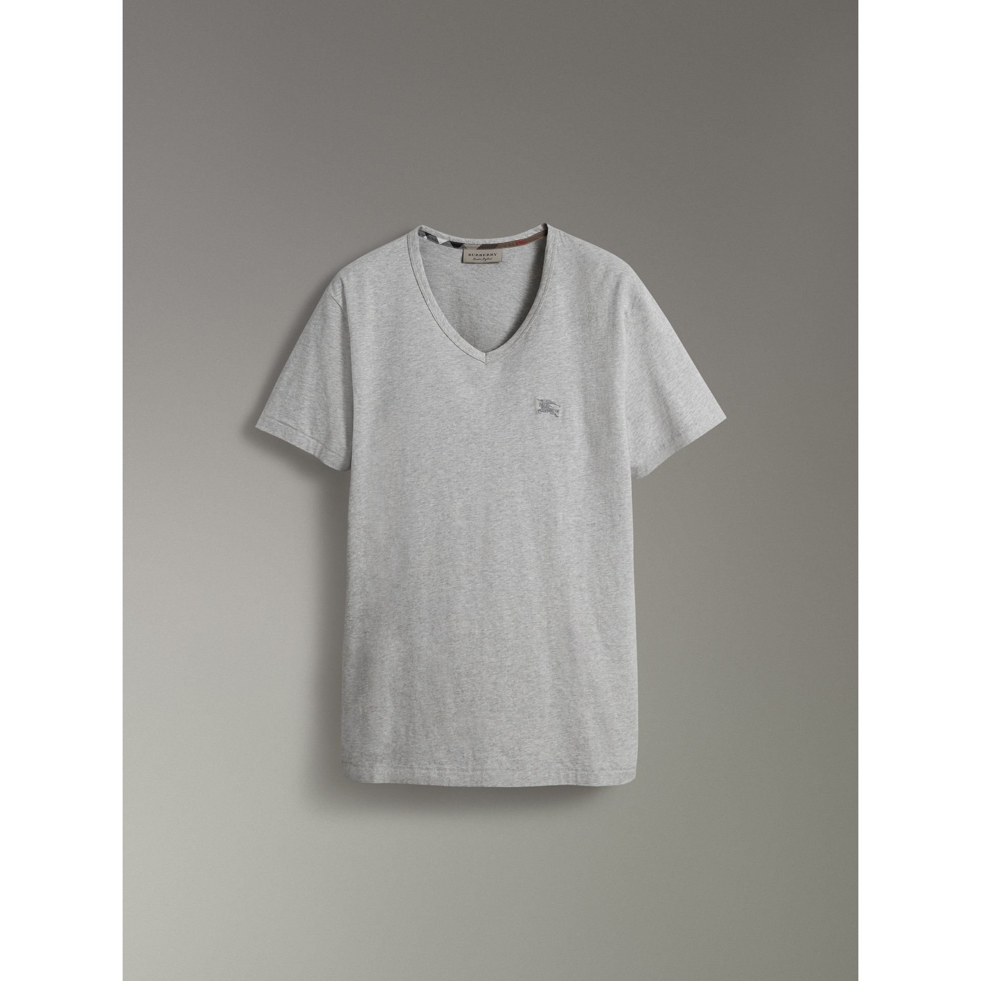 Cotton Jersey T-shirt in Pale Grey Melange - Men | Burberry - gallery image 3