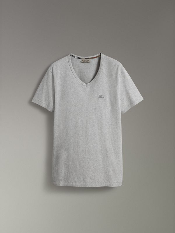Cotton Jersey T-shirt in Pale Grey Melange - Men | Burberry United Kingdom - cell image 3