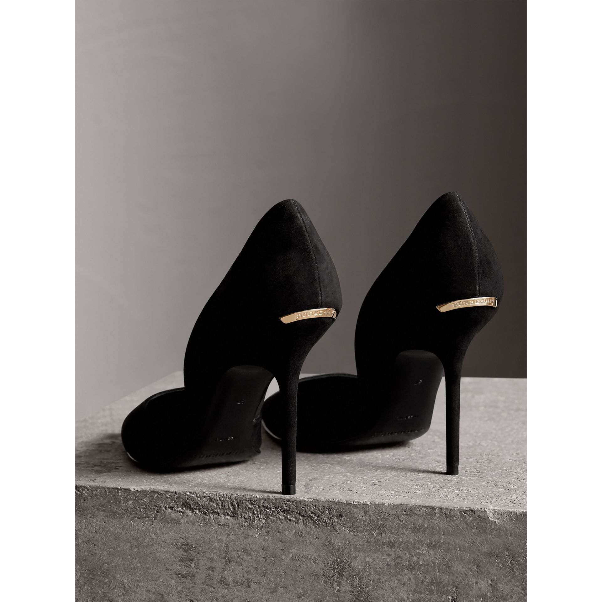 Point-toe Suede D'Orsay Pumps in Black - Women | Burberry United Kingdom - gallery image 4