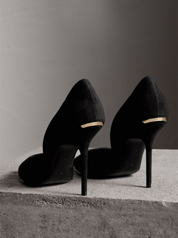 Point-toe Suede D'Orsay Pumps in Black - Women | Burberry - cell image 3