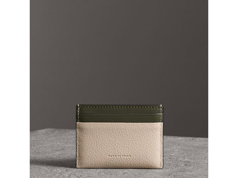 Two-tone Leather Card Case in Stone - Women | Burberry - cell image 1