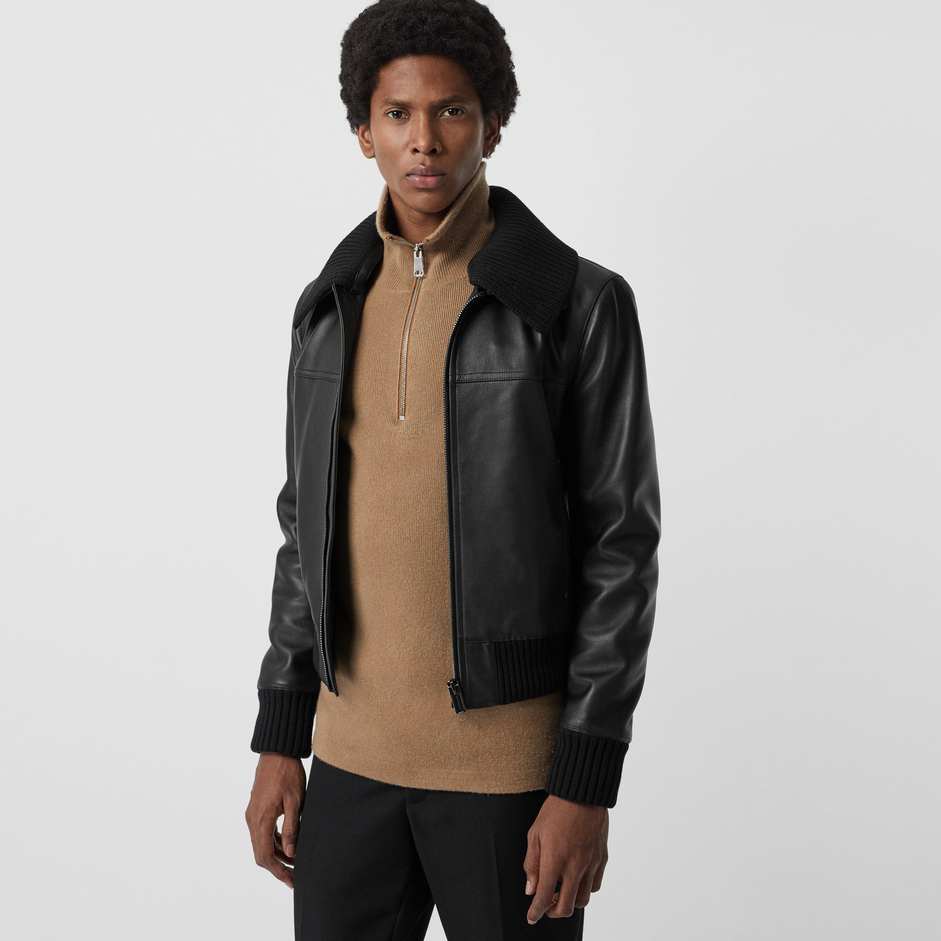 Detachable Collar Lambskin Bomber Jacket in Black - Men | Burberry - gallery image 5