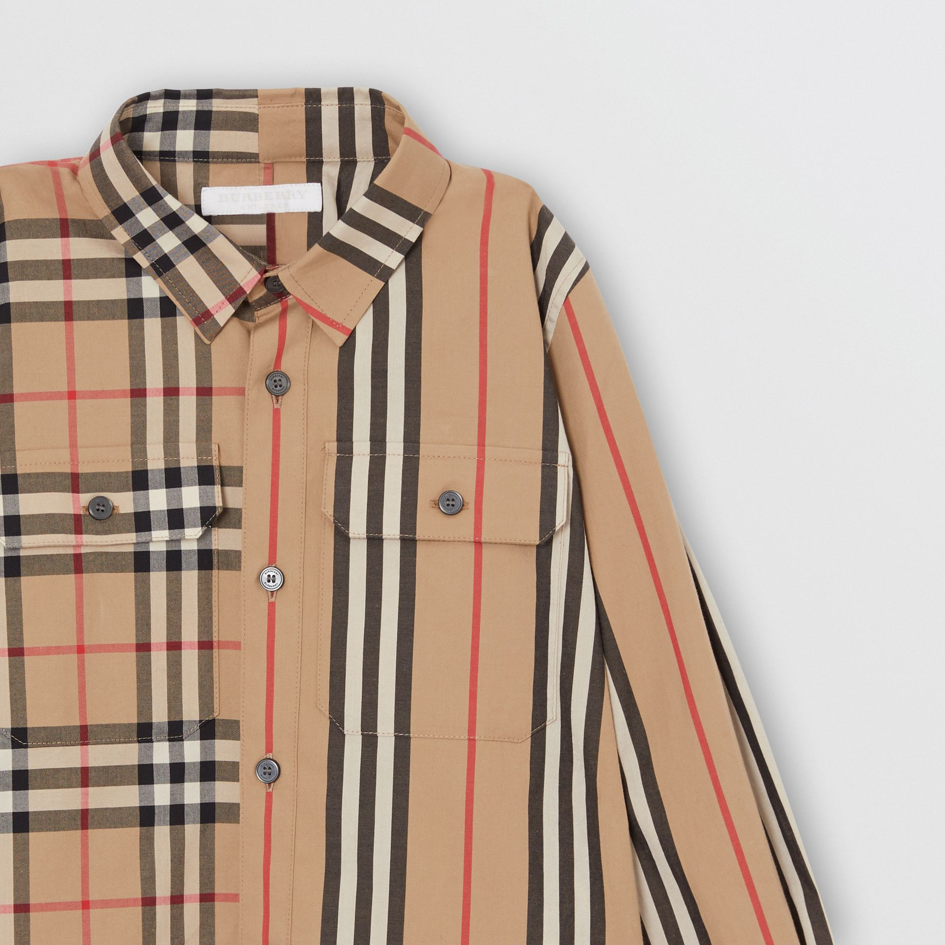 Panelled Vintage Check and Icon Stripe Cotton Shirt in Archive Beige | Burberry United Kingdom - gallery image 4