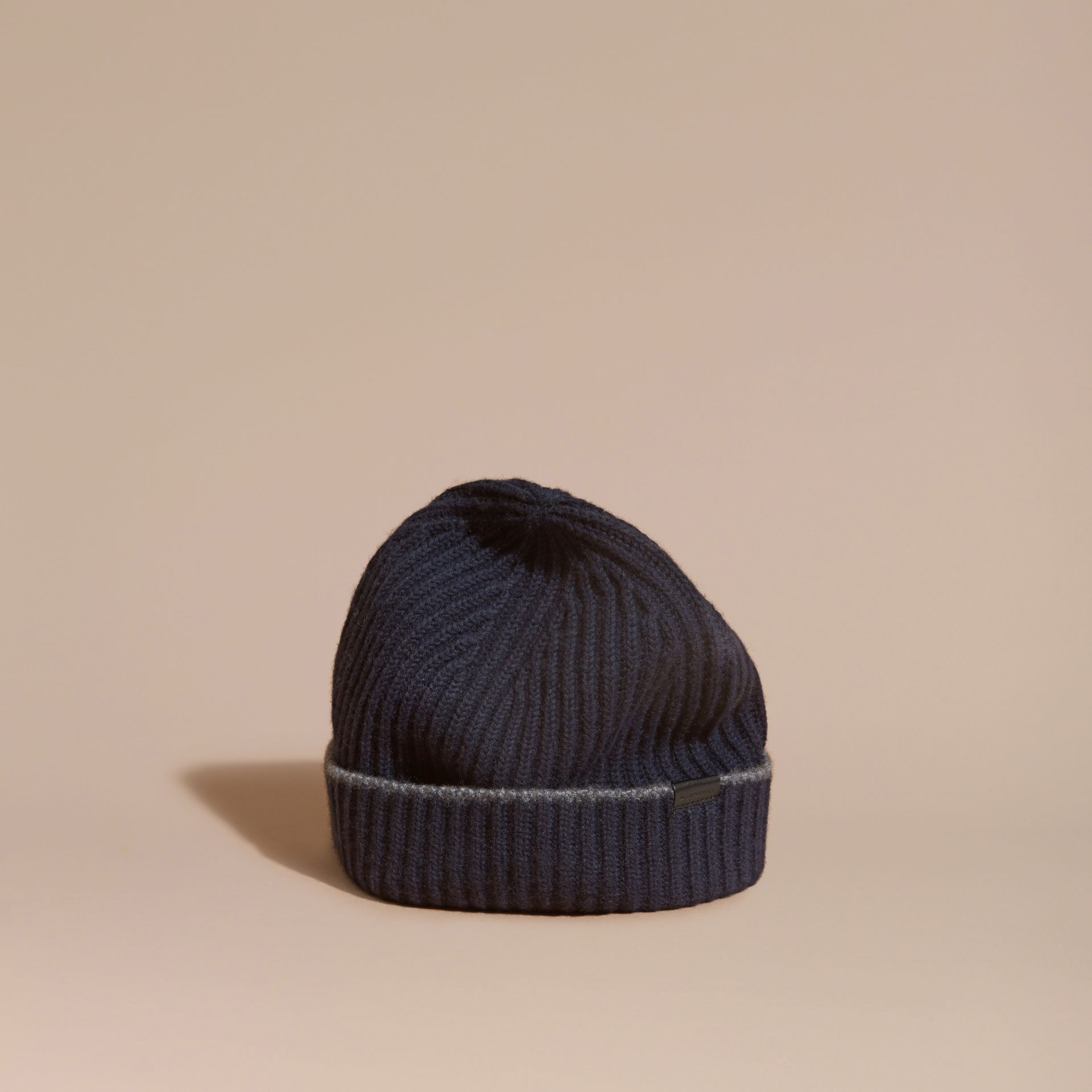 Ribbed Cashmere Beanie with Border Detail in Navy/mid Grey - gallery image 1