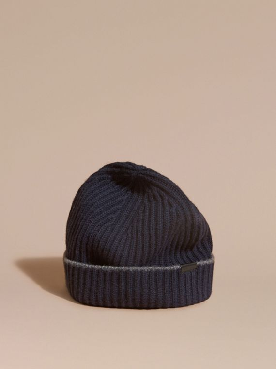 Ribbed Cashmere Beanie with Border Detail Navy/mid Grey