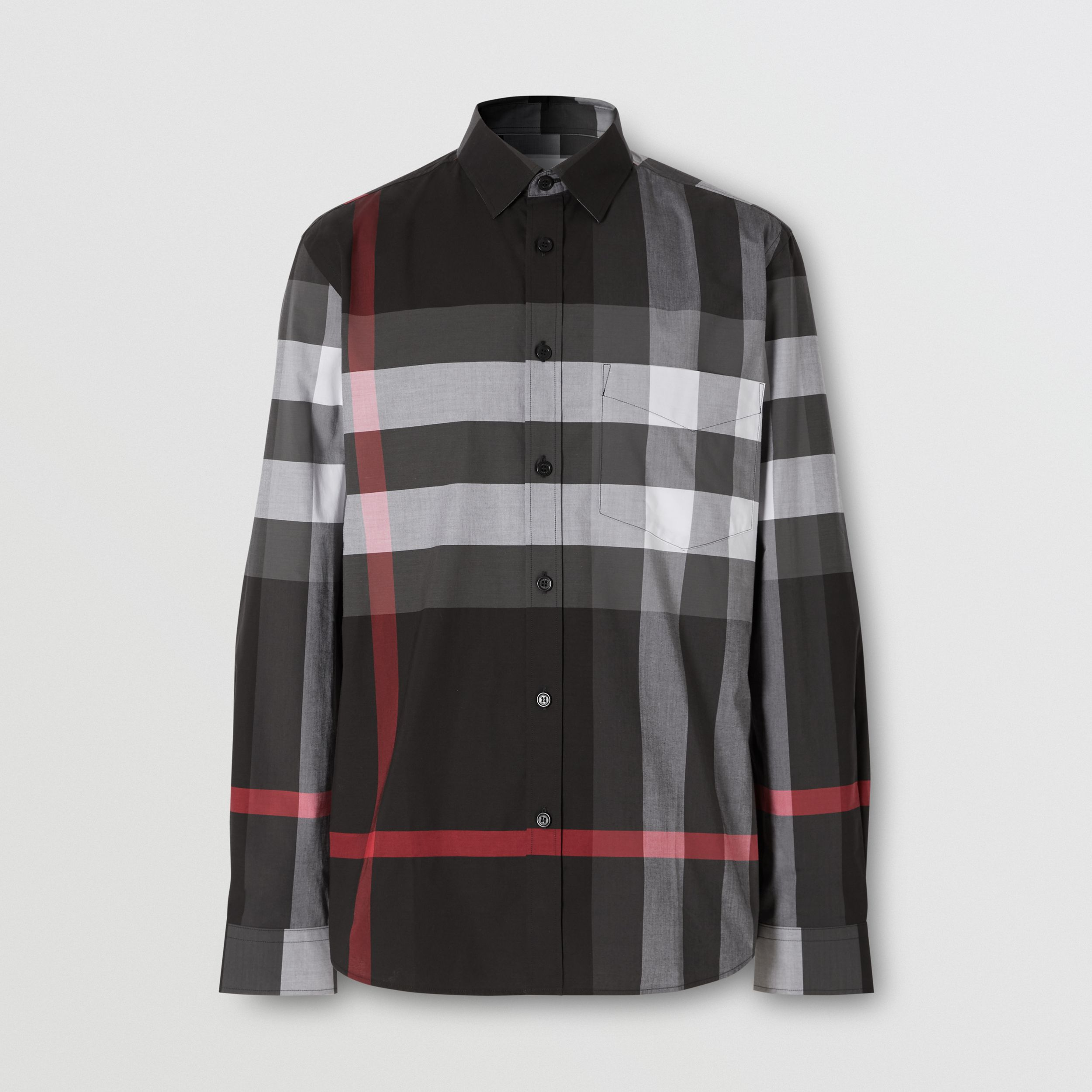 Check Stretch Cotton Poplin Shirt in Charcoal - Men | Burberry - 4