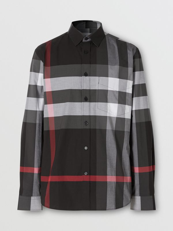 Check Stretch Cotton Poplin Shirt in Charcoal - Men | Burberry - cell image 3