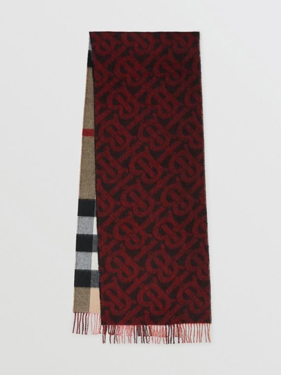 Cachecol dupla face de cashmere com estampa xadrez e monograma (Vermelho Intenso)