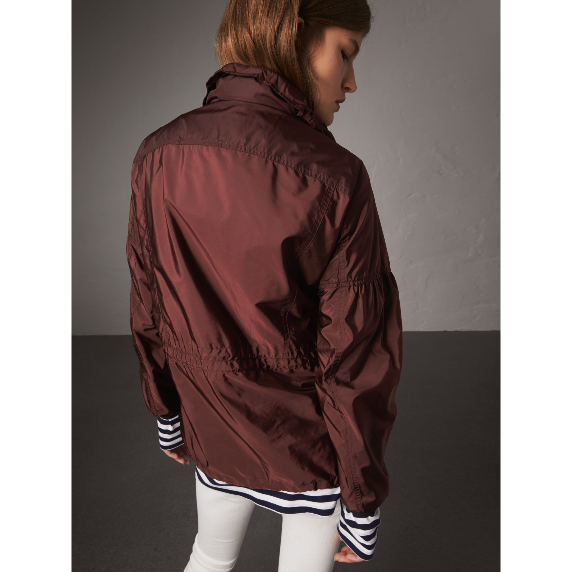 Packaway Hood Lightweight Rain Jacket in Deep Burgundy - Women | Burberry - gallery image 3