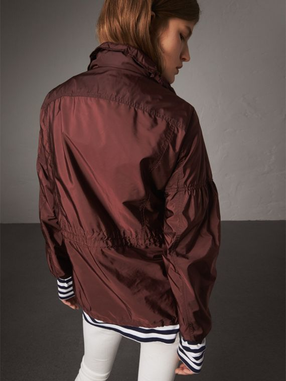 Packaway Hood Lightweight Rain Jacket in Deep Burgundy - Women | Burberry - cell image 2