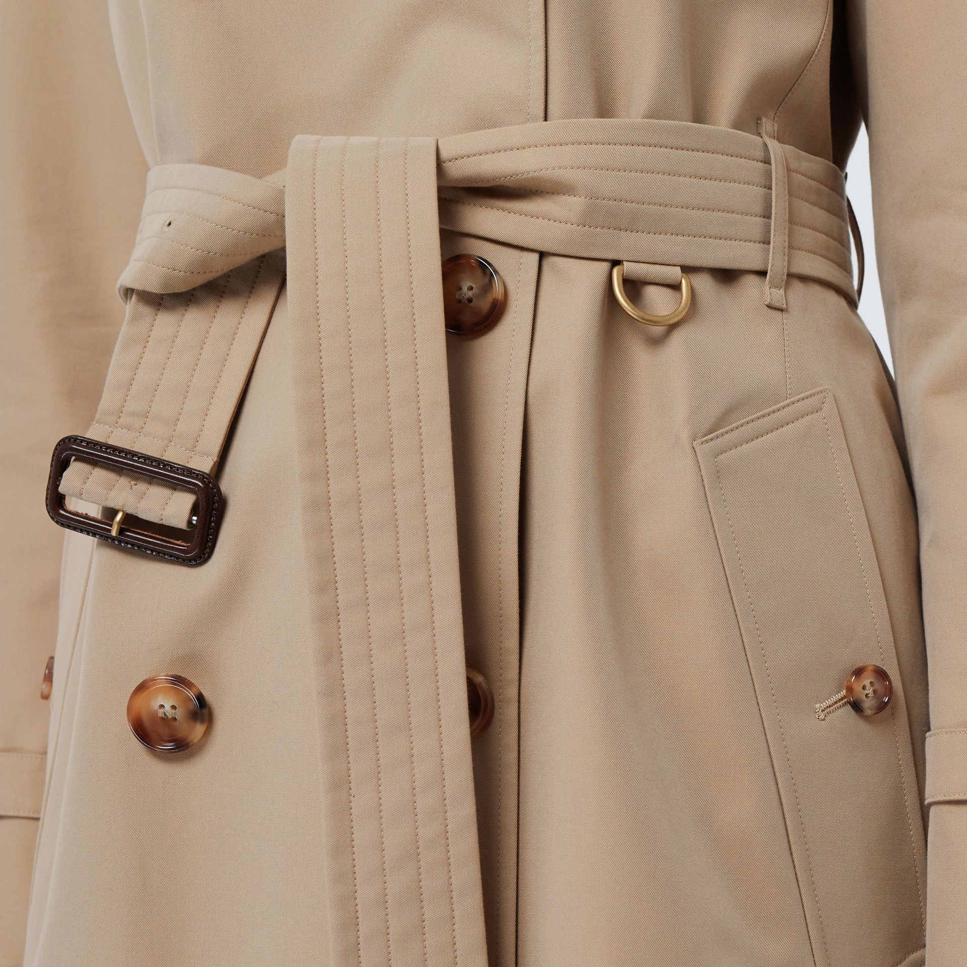 Cotton Gabardine Trench Coat in Honey - Women | Burberry Singapore - gallery image 4